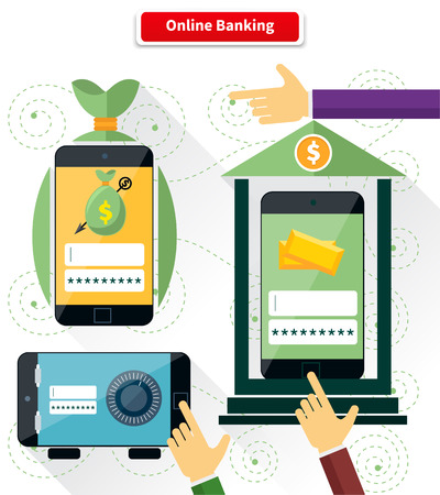 pay money: Online banking flat style design. Pay and transaction, internet finance, digital bank, security and protection, connection shopping, money and mobile, safety web illustration