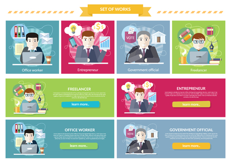 office manager: Set of concept work employed freelancer. Government official, office worker, employment and entrepreneur, business job, career and entrepreneurship, workspace illustration Illustration