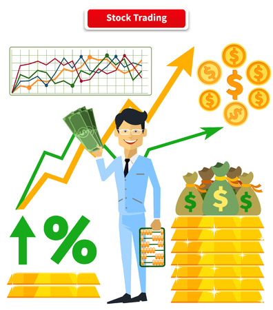 wealth: Stock trading concept flat style. Job and market, leadership human, employment and achievement business, diagram and wealth, finance and dollar, trader and report marketing analyzing illustration