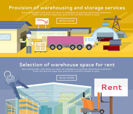 warehousing: Warehouse storage service product. Warehousing and rent space, service storage, transportation and logistic, delivery container, distribution package illustration
