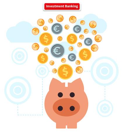 ganancias: Concepto de banca de inversión. Suma de las finanzas. Finanzas dinero, el Banco y crecimiento de las ganancias, alcancía y dinero en efectivo de la moneda, el beneficio financiero, la riqueza y del dólar, los ingresos y la recaudación ilustración Vectores