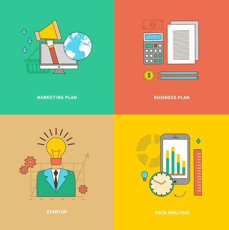 marketing research: Data analysis, business marketing plan, startup. Finance management strategy, money and analytic, development and seo, research and promotion, growth project illustration