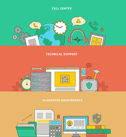 helpline: Concept of support and warranty service. Maintenance guarantee, call technical center, consultant and helpline, assistance and supply, feedback and consultation illustration