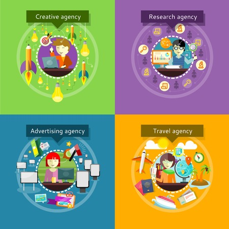 advertising agency: Creative advertising agency research. Travel and development, recreation and tourism, management marketing media, analysis and analytics data illustration in flat design Illustration