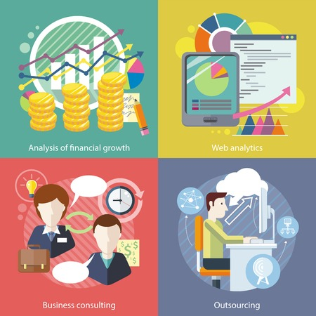 Outsourcing web analytics. Analysis financial growth. Business consulting, statistic and strategy, consultant and research, marketing optimization illustration in flat design