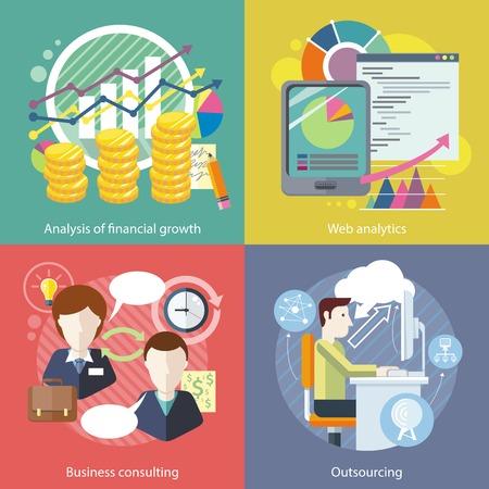 Uitbesteden van web analytics. Analyse financiële groei. Business consulting, statistiek en strategie, consultant en onderzoek, marketing optimalisatie illustratie in plat design Vector Illustratie
