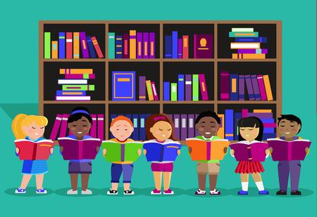 biblioteca: Otros niños leen libros en la biblioteca. Niño de la educación o el cabrito, el aprendizaje de los estudiantes, la lectura y el estudio, la gente que estudia, la ilustración de libros de texto literatura en diseño plano