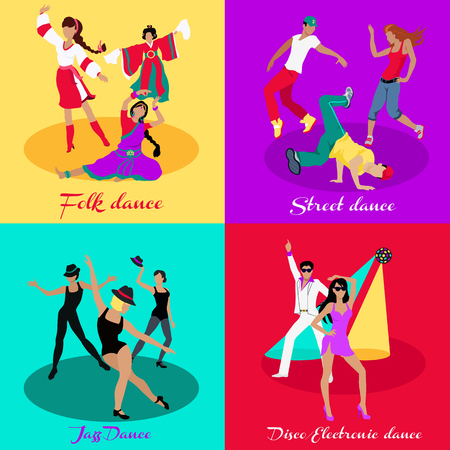 folk dance: Set street folk dance jazz disco. Dancing music, event party, people boy and girl, art show performance, sound lifestyle, musical nightlife illustration in flat design Illustration