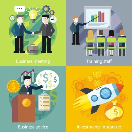 staff training: Set of business concept investment advice meetings. Entrepreneur and office worker, staff training and startup, strategy management, finance presentation, teamwork professional in flat design