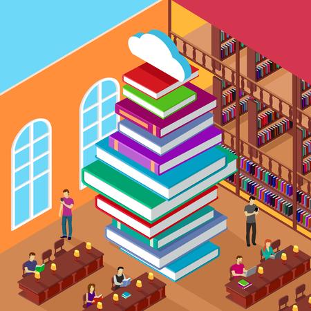 literatura: Biblioteca isométrica. Pila de libros. Conocimiento concepto. Educación y estudio, a aprender la universidad, la gente lee, estantería y montón literatura, la lectura y el lector de la ilustración