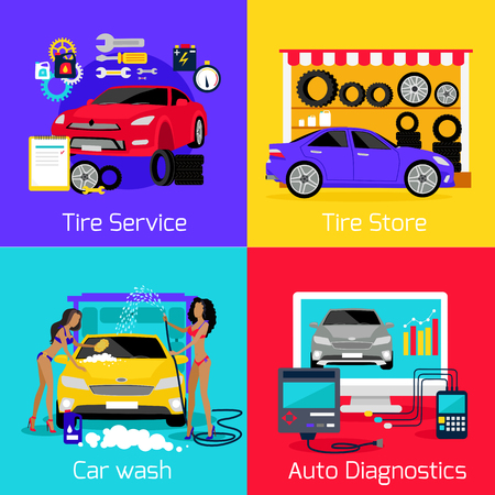 Services car washing diagnostics tire. Store and repair engine, carwash and autoservice, assistance and care machine, garage station, setting and calibration illustration