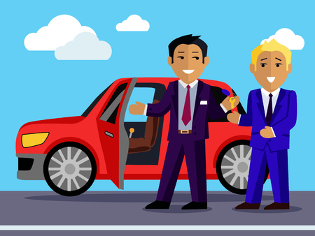 sell car: Illustration of a man buys a new car. Automobile sale, sell  transport, dealer and customer,  salesman and vehicle, purchase and seller, buyer and agent illustration