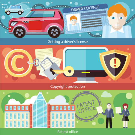 patent: Set concept getting driver license, patent and copyright protection, certificate document, car drive, intellectual author law, legal and right illustration in flat design Illustration