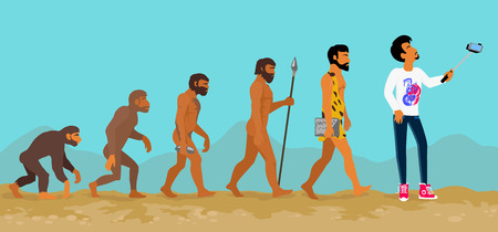 humans: Concept of human evolution from ape to man. Development progress, primate growth, ancestor and mankind, caveman and neanderthal, mammal generation illustration. Man doing selfie with monopod