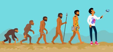 przodek: Koncepcja ewolucji człowieka od małpy do człowieka. Postęp rozwoju, prymas wzrostu, przodek i ludzkość, jaskiniowiec i neandertalczyk, ilustracja generacji ssak. Człowiek robi selfie z monopod