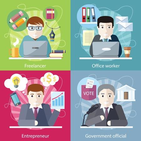 puesto de trabajo: Conjunto de concepto de trabajo freelance empleado. Funcionario del gobierno, empleado de oficina, el empleo y el empresario, trabajo negocio, carrera y el espíritu empresarial, área de trabajo en diseño plano Vectores