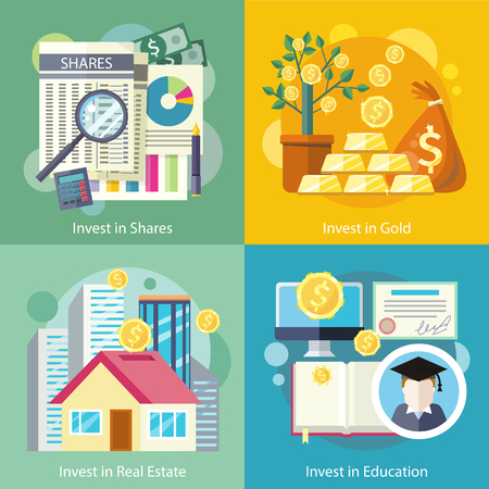 金教育の特性の投資の概念。ビジネス、富、お金、金融銀行の融資、預金、潜在的な投資を提供し、市場、銀行、フラットなデザインの経済開発に  イラスト・ベクター素材