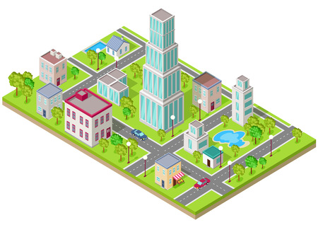 Isometric icon of the city is flat. Building house architecture, street urban town, map and construction, skyscraper exterior, facade and estate, residential office or home illustration