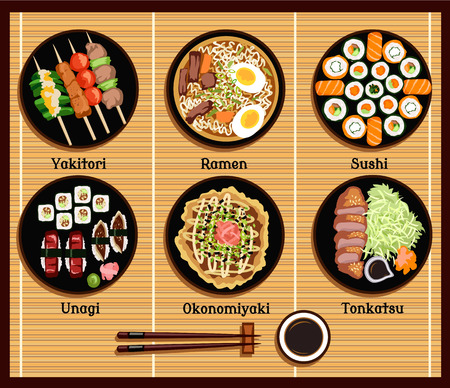 Japanese cuisine set dishes flat style. Yakitori ramen sushi unagi okonomiyaki tonkatsu, dish traditional, fish dinner, delicacy and chopsticks illustration