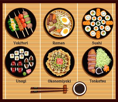Japanische Küche Satz Gerichte flach Stil. Yakitori Ramen Sushi unagi okonomiyaki tonkatsu, Gericht traditionell, Fischessen, Zartheit und Stäbchen Illustration Illustration