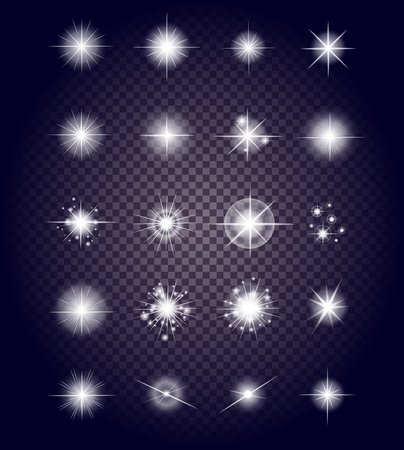 glint: Set glows bright star light fireworks. Flash and glow, sparkle illuminated, flare effect, shine explosion, glitter and twinkle, spark magic, decoration starburst, shiny illustration