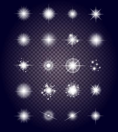 Set svítí jasná hvězda světla ohňostroj. Flash a záře, jiskra osvětlené, světlice účinek, výbuch lesk, třpyt a třpytí, jiskry magie, dekorace starburst, lesklý ilustrační Ilustrace