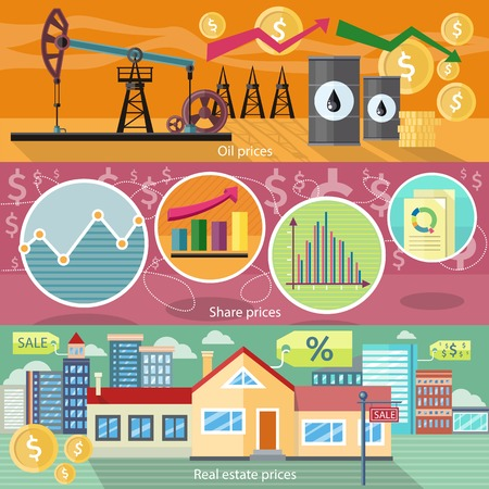 residential market: Concept of real estate price of oil and shares. Business graph, finance market, chart and diagram, industry petroleum, arrow financial, building residential house illustration Illustration