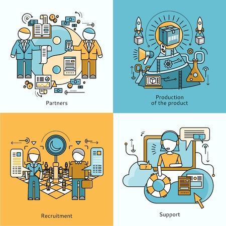 パートナーシップ募集および生産支援のコンセプトです。作業フロー プロセス、組織の仕事、戦略とチームの専門家、成長および管理のイラストの人