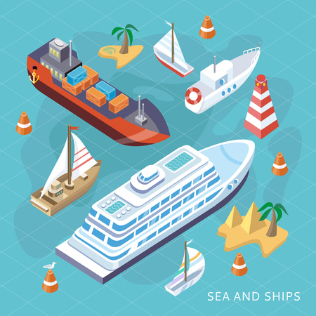 3d isometric set ships. Sea transport. Island and buoy, motorboat and containership, cruise and tanker, cargo shipping, boat transportation, ocean and vessel, vector illustration Çizim