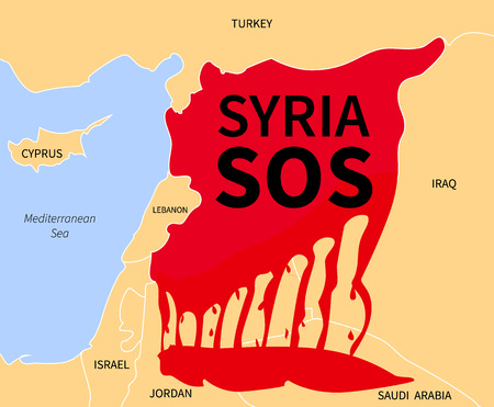 Syria country map silhouette in blood red color with the words Syria SOS. War victim immigration. Civil war in Syria. Syrian refugees in the form of blood. Syrian crisis emigrants. Syria refugee.