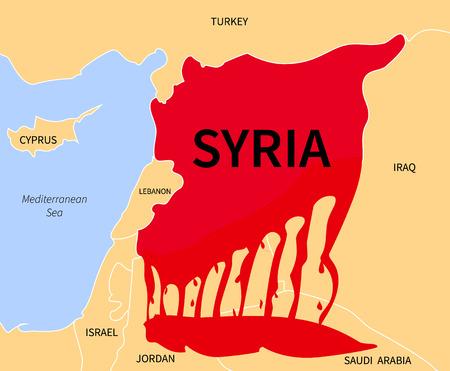 emigranti: Della Siria paese map silhouette in colore rosso sangue con le parole. Guerra vittima di immigrazione. La guerra civile in Siria. Rifugiati siriani in forma di sangue. Emigranti crisi Cirian. Siria rifugiati.