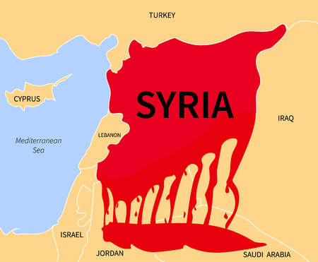 Syria country map silhouette in blood red color with the words. War victim immigration. Civil war in Syria. Syrian refugees in the form of blood. Cirian crisis emigrants. Syria refugee.