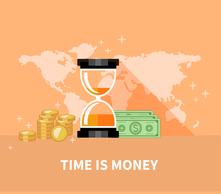 sand dollar: Time is money concept. Hourglass coins. Finance and business, currency and clock, dollar saving, watch and cash, economic financial, sandwatch and monetary illustration