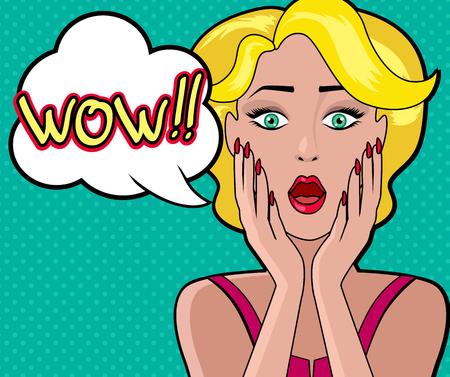 woman open mouth: Cartoon femme s�duisante avec la bulle WOW. Face fille, r�tro et vintage de la mode f�minine, personnage personne, le pop art, le regard et la bouche ouverte, la parole et l'illustration de surprise