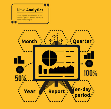 parameters: Stand with charts and parameters. Business concept of analytics. Poster banner on yellow background. Presentation and analysis, rating and performance indicators. Phrase analytics in isolation quotes Illustration