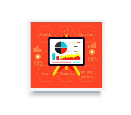 parameters: Stand with charts and parameters on red. Business concept of analytics. Poster banner on white background. Presentation and analysis, rating and performance indicators.
