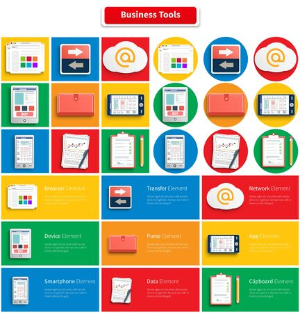 information management: Set of workplace office and business work elements. Mobile devices and documents. Tools, business, toolbox, resources, office tools, businessman tools, business technology. Square, round banners Illustration