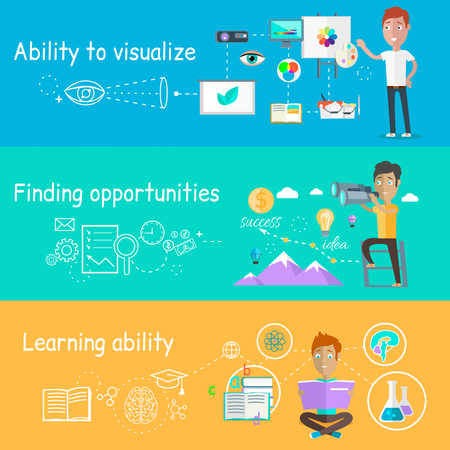 creative potential: Business ability of visualize learning. Finding opportunities, professional learn and development, skill and motivation, vision strategy, person creative man illustration in flat design