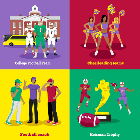 cheerleading: American football trophy, football coach and team. Cheerleading sport, rugby football, uniform game, competition player, athlete and dance, teamwork and victory, athletic play illustration flat design Illustration
