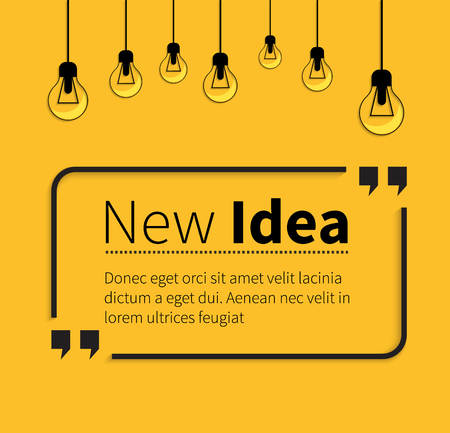 Quote bubble, quote marks, quotation marks, quote box, get a quote. Phrase new idea in quotes on yellow. Text poster, message typography, motivation wisdom, saying and note, quotation and inspire.