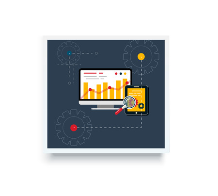 Stock trading poster flat style. Employment and achievement business, diagram and wealth, finance and dollar, trader and report marketing analyzing. Trade, stock market, stock exchange, stock broker Illustration