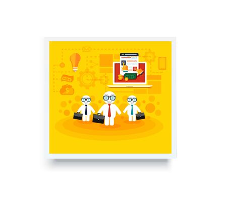cases: Poster banner with business mans with cases go on a meeting. Laptop with site of pay per click concept. Business concept in flat design on white background. Illustration