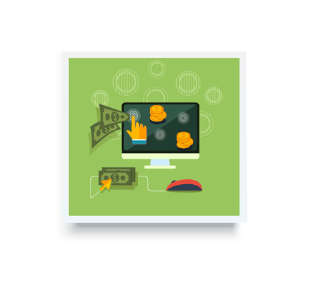 clicked: Pay per click internet advertising model when the ad is clicked poster banner on white. Modern flat design. Ppc, search engine marketing, online advertising, social media, click, sem