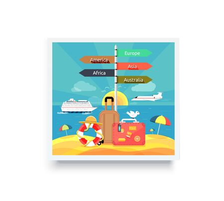 family vacation: Beach and tropical sea with bright sun. Active rest at sea and beach vacation with umbrellas. Vacation, beach, family beach vacation, family vacation, beach chair, couple beach vacation