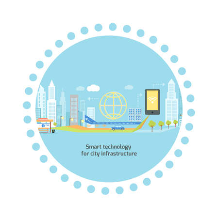 infrastructure buildings: Smart technology in infrastructure of the city. Icon and network system, communication innovation town, connection and future, control information, internet illustration