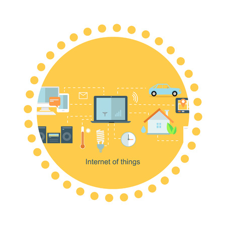 wireless communication: Internet of things icon flat design. Network and iot technology, web and smart home, mobile digital, wireless connect, communication equipment illustration
