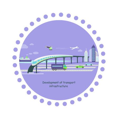 popularity: Concept of development of transport infrastructure icon flat. Car future growing, vehicle popularity, traffic automobile, aircraft and ship, autobahn and train, helicopter and road illustration