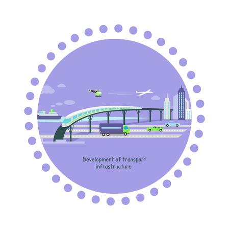 infraestructura: Concepto de desarrollo de la infraestructura de transporte icono plana. Futuro crecimiento, la popularidad del veh�culo, autom�vil tr�fico, aviones y buques, autopista y tren, helic�ptero y la ilustraci�n camino Coche Vectores