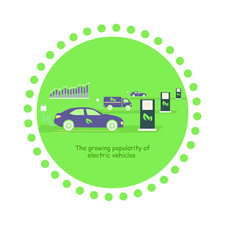 popularity: Icon flat development and growing popularity electric vehicles. Power technology, energy and electricity transportation, fuel future, alternative electrical illustration
