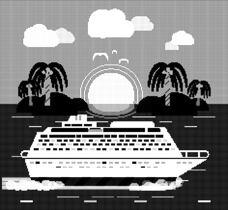 halftone dots: Cruise ship near island. Water tourism. Icons of traveling, planning a summer vacation, tourism and journey objects. Halftone pattern, dots, halftone background, halftone dots, grunge, grunge halftone